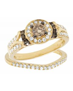 Genuine Brown White Diamond Solitaire Bridal Ring Set in 14K Yellow Gold 1 Ct