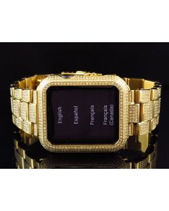 Apple I-Watch Sports 7000 Series Yellow Gold Stainless Steel Diamonds (6.0ct)