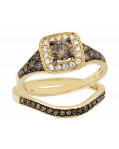 14K Yellow Gold Genuine Brown White Diamond Square Solitaire Bridal Ring Set 1Ct