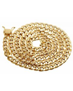10K Yellow Gold Hollow Miami Cuban Link 7MM Chain Necklace 24-30 Inches