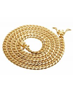 10K Yellow Gold Hollow Miami Cuban Link 5MM Chain Necklace 24-36 Inches
