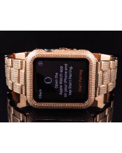 Apple I-Watch Sports 7000 Series Rose Gold Stainless Steel Diamonds (6.0ct)
