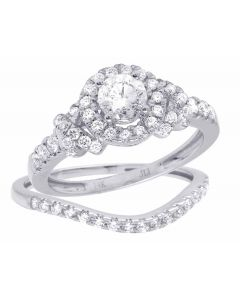 14K White Gold Genuine Diamond Round Halo 2 Piece Solitaire Bridal Ring Set 1 CT