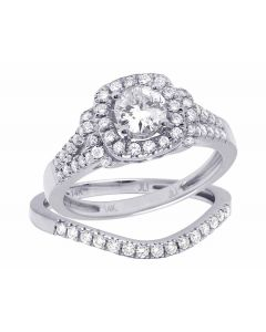 14K White Gold Genuine Diamond Halo 2 Piece Solitaire Bridal Ring Set 1 CT
