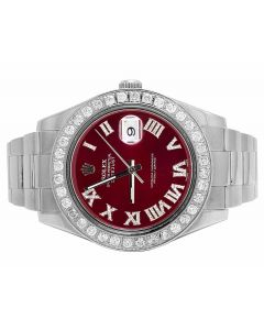 Rolex Datejust II 116300 Red Roman Dial Diamond Watch (4.5 Ct)