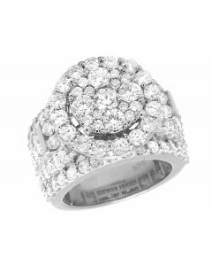 10K White Gold Real Diamond Cluster Halo Engagement Wedding Ring 4 1/4 Ct 17MM