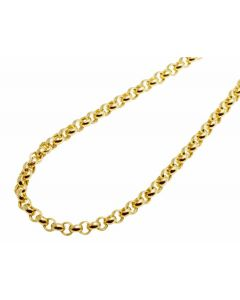 Men's 10K Yellow Gold Hollow Rolo Chain 4MM 24-36 Inches