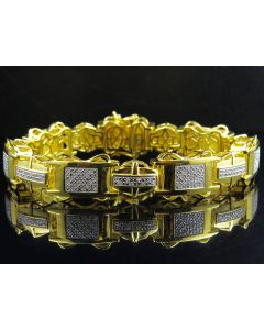 Yellow Gold Finished Puzzle Link Genuine diamonds Bracelet 0.60ct