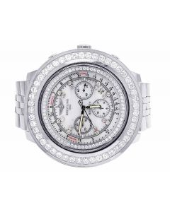 Custom Breitling Bentley A25362 48MM White Dial Diamond Watch 7.35 Ct