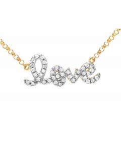 Ladies 10K Yellow Gold Real Diamond Love Necklace .20 ct