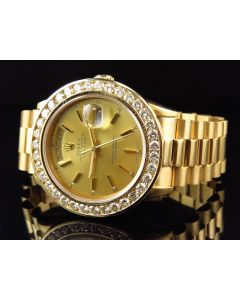 Mens 36 MM Rolex President 18038 With Diamond bezel and Gold Dial (6.0 Ct)