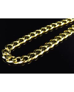 "Yellow Gold Finished 7MM Curb Cuban Link Chain Necklace 18""-28"""
