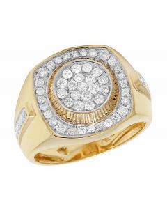 10k Yellow Gold Round Pave Diamond Pinky Ring 1.0ct 17MM