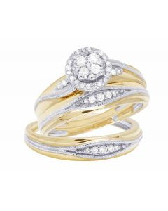 10K Yellow Gold Genuine Diamond Round Halo Cluster Bridal Trio Ring Set 3/8 CT