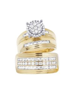 10K Yellow Gold Genuine Diamond Round Cluster Trio Bridal Ring Set 1 1/3 CT