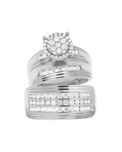 10K White Gold Genuine Diamond Round Cluster Trio Bridal Ring Set 1 1/3 CT