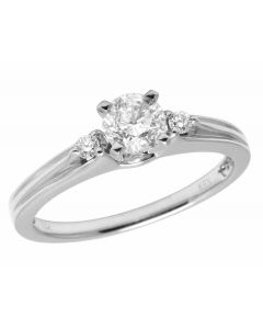 14K White Gold Ladies Real Diamond Solitaire Engagement Ring 0.56CT