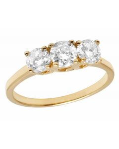 Ladies 14K Yellow Gold Real Diamond 3 Stone Engagement Ring 1.0ct