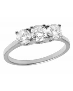 Ladies 14K White Gold Real Diamond 3 Stone Engagement Ring 1.50ct