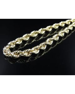 10K Yellow Gold 8 MM Diamond Cut Hollow Rope Chain 22-30 Inches