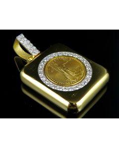 24K Solid Yellow Gold Coin Lady Liberty Quarter Ounce Pendant 1.80 ct.