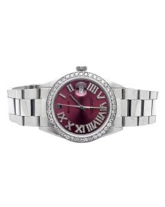 Rolex Datejust Oyster Quickset Red Diamond Dial and Bezel Watch (3.5 Ct)