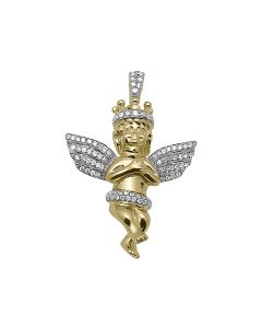 """1"""" Consoling Crown Diamond Angel Pendant in 10k Yellow Gold (0.40 ct)"""