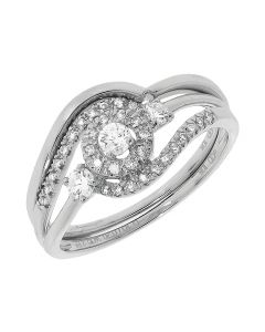 14k White Gold Round Solitaire Diamond Bridal Ring Set (0.30 ct)