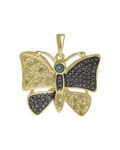 """Yellow Silver Ladies Canary Blue Diamond Butterfly Pendant 0.8"""" (0.45 ct)"""