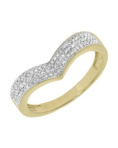 Womens Chevron Engagement Ring Enhancer Band in Yellow Gold (0.28 ct)