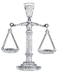 10K White Gold Libra Weighing Scale 1.5 Inch Diamond Pendant Charm (0.55ct.)