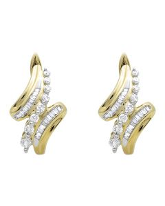Ladies Dangle Round Cut Diamond Hoops Earring In 14k Yellow Gold 1/2ct
