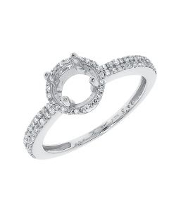 14k White Gold Round Diamond Halo Solitaire Semi Mount Engagement Ring (0.26 ct)