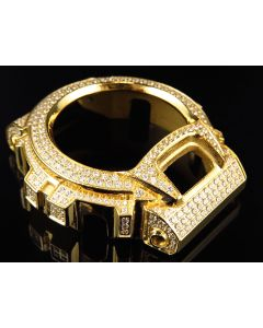 Mens Yellow Gold Finish Simulated Diamond Stainless Steel G Shock DW-6900 Watch Bezel