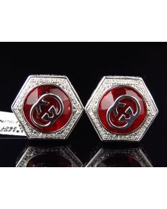 White Gold Finished Red Gemstone Greek Key Diamond Cuff Links (0.25ct.)