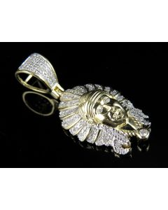 10K Yellow Gold Native American Indian Chief Head Pendant .40ct
