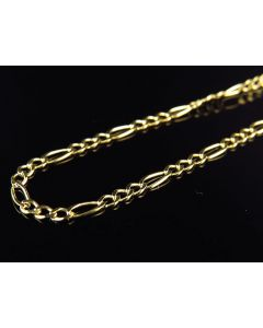 "14K Yellow Gold 2MM Wide Figaro Chain Necklace 16""-24"""
