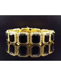 .925 Sterling Silver Mens Yellow Gold Finish Lab Simulated Black Onyx Bracelet