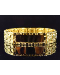 """Men's Solid 10K Yellow Gold Nugget Style ID Bracelet 14MM 9"""""""