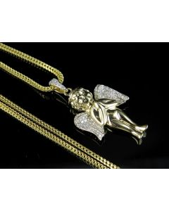 10K Yellow Gold Angel Cherub Diamond Combo Set 0.30 Ct