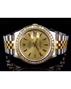 Rolex Datejust 18k Stainless Steel with Champagne Dial Diamond Watch (4.0 Ct)