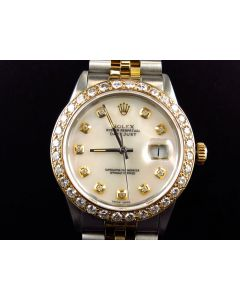 Rolex Datejust 18k Stainless Steel with White Pearl Dial Diamond Watch (3.85 Ct)
