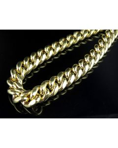 10K Yellow Gold Semi Solid Miami Cuban Link 14.5 MM Chain Necklace 28-36 Inches