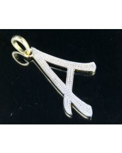 """10K Yellow Gold Diamond Letter A Initial Pendant 0.50 Ct 1.75"""""""