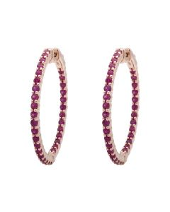 Ladies Rose Gold Inside-Out Style Prong Set Fashion AAA Ruby Hoops (2.45ct)