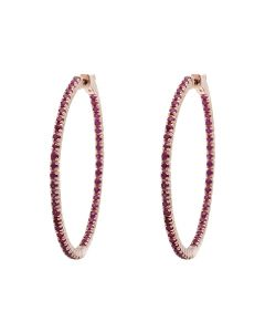 Ladies Rose Gold Inside-Out Style Prong Set Fashion AAA Ruby Hoops (2.25ct)