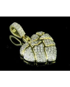 "10K Yellow Gold Broken Heart Diamond Pendant Charm 0.8"" 0.25ct."