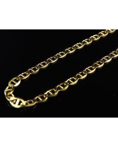 Men's 14K Solid Yellow Gold 2.5MM Flat Mariner Style Chain 16-24 Inches