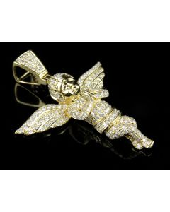 Angel Diamond Pendant set in 10K Yellow Gold (4.0 Ct)