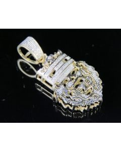 """10K Yellow Gold Real Diamond Cut Out Lion Pendant 1/5 CT 1.4"""""""